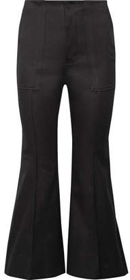 Bassike Cropped Cotton-blend Flared Pants - Black