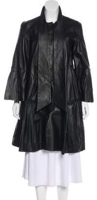 Diane von Furstenberg Leather Knee-Length Coat