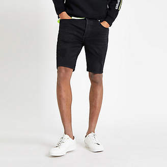 River Island Black wash skinny ripped denim shorts