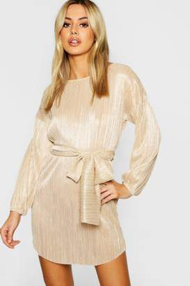 boohoo Petite Oversized Metallic Dress