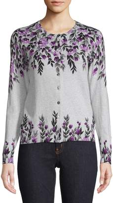 Karen Scott Petite Floral Cotton-Blend Cardigan