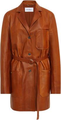 Salvatore Ferragamo Leather Belted Workwear Jacket
