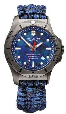 Victorinox I.N.O.X. Professional Diver Sandblasted Titanium Blue Camo Paracord Strap Watch