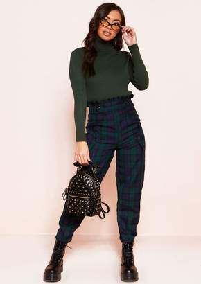 Missy Empire Missyempire Tiana Navy Checked High Waist Paperbag Trousers