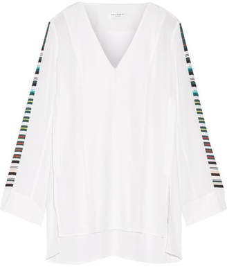 Equipment - Norma Striped Washed-silk Tunic - White $280 thestylecure.com