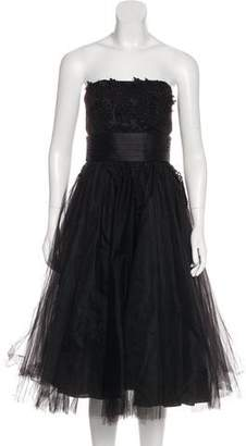 ABS by Allen Schwartz Lace-Accented Strapless Cocktail Dress