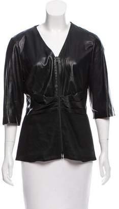 Lafayette 148 Leather & Linen Jacket