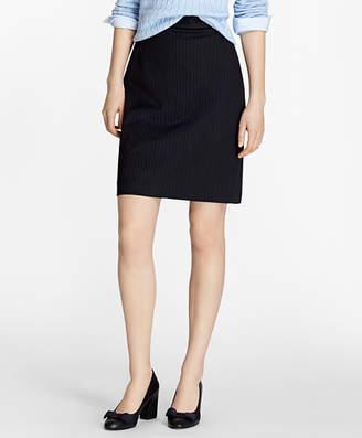 Brooks Brothers Pinstripe Stretch Wool Pencil Skirt