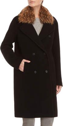 Soia & Kyo Black Real Fur Collar Coat