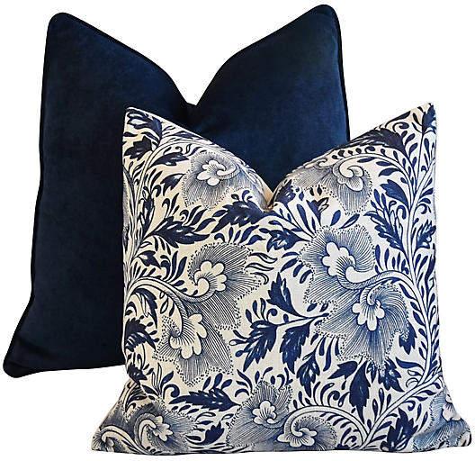 Blue Velvet & Floral Pillows