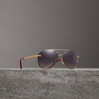 Burberry Check Detail Pilot Sunglasses