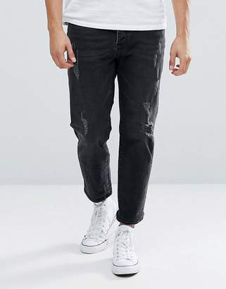 Mennace Tapered Cropped Jeans With Knee Rips