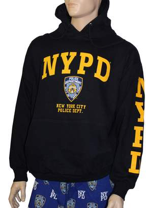 Factory NYC NYPD Hoodie Yellow Sleeve Print Sweatshirt Blue 2Xl