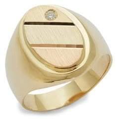 14K Yellow Gold, Rose Gold, White Gold & Diamond Signet Ring