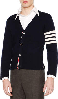Thom Browne Classic V-Neck Cashmere Cardigan, Navy