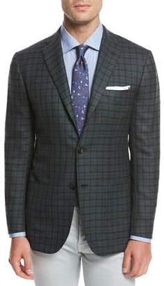 Kiton Check Cashmere Sport Coat, Green