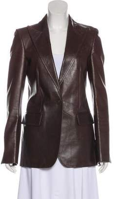 Gucci Genuine Leather Peak-Lapel Jacket