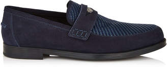 Jimmy Choo DARBLAY Navy Suede and Woven Fabric Loafers