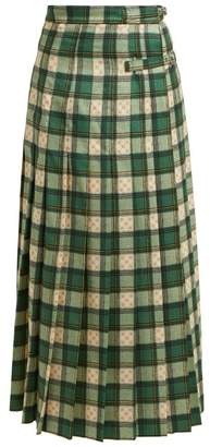 Gucci Gg Tartan Wool Maxi Skirt - Womens - Green Multi