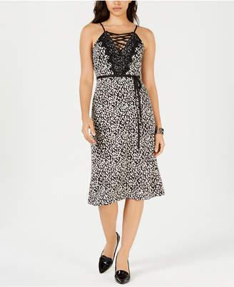 J.o.a. Printed Lace-Up Dress