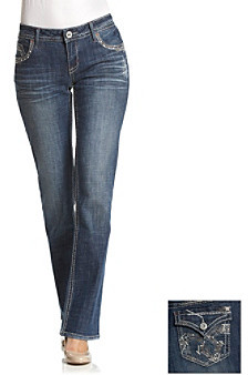 Hydraulic Juniors' Embellished Flap Back Pocket Slim Bootcut Jean