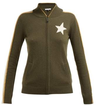Bella Freud Billie Zip Through Cashmere Blend Track Jacket - Womens - Khaki Multi