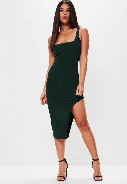 Missguided Sleeveless Square Neck Midi Dress