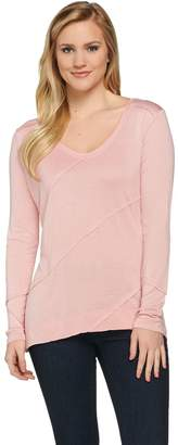 Halston H By H by Long Sleeve V-neck Knit Top with Seaming Details
