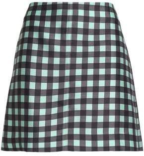 Diane von Furstenberg Checked Wool And Silk-Blend Mini Skirt