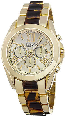 Burgi Womens Gold-Tone Tortoise Bracelet Watch