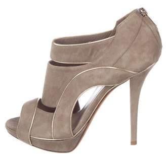 Christian Dior Suede Peep-Toe Pumps Grey Suede Peep-Toe Pumps
