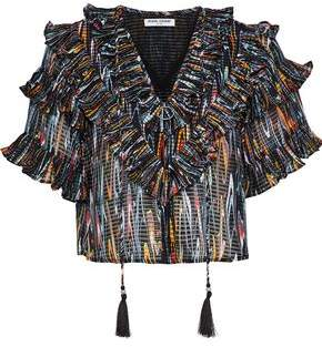 Opening Ceremony Cropped Ruffled Printed Jacquard Blouse