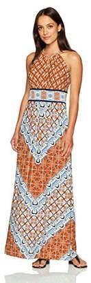 London Times Women's Petite Sleeveless Halter Jersey Maxi Dress