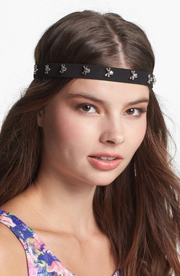 Berry 'Pirate Skull' Faux Suede Head Wrap