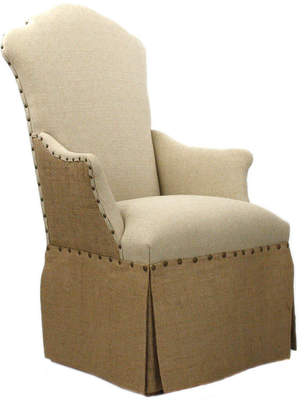 Zentique Skirted Chair Burlap Back