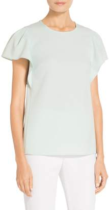 St. John Stretch Crepe Flutter Sleeve Top