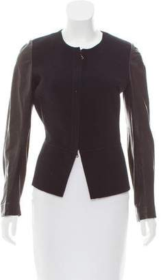 Vince Leather-Paneled Wool Jacket