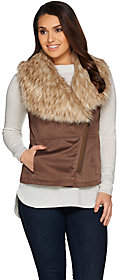 Lisa Rinna Collection Faux Suede Fur CollarVest