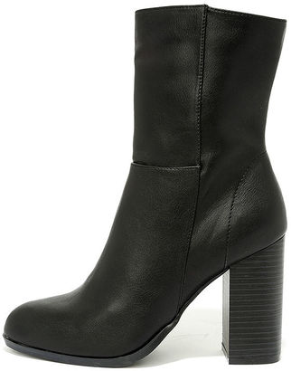 Welcomed Addition Black High Heel Mid-Calf Boots $39 thestylecure.com