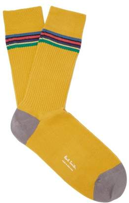 Paul Smith - Striped Rib Knit Cotton Blend Socks - Mens - Yellow