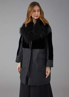 Giorgio Armani Technical Fabric Coat With Velvet Insert And Faux-Fur Collar