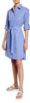 Parker Finley Petite Mixed Stripe Long-Sleeve Shirtdress