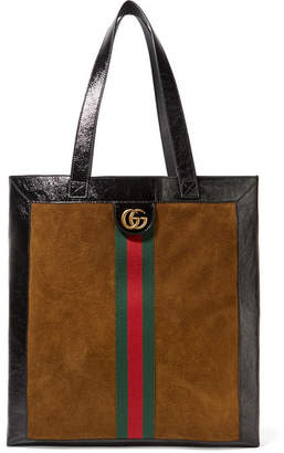 Gucci Ophidia Medium Patent Leather-trimmed Suede Tote - Tan