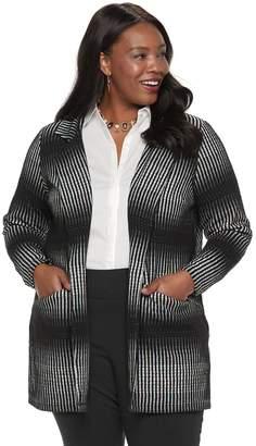 Dana Buchman Plus Size Striped Open-Front Jacket
