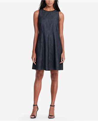 Lauren Ralph Lauren Faux-Leather-Trim Denim Dress $130 thestylecure.com
