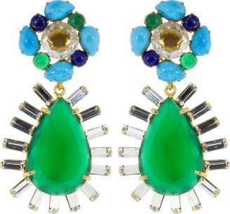 Bounkit JEWELRY Green Onyx Baguette Earrings