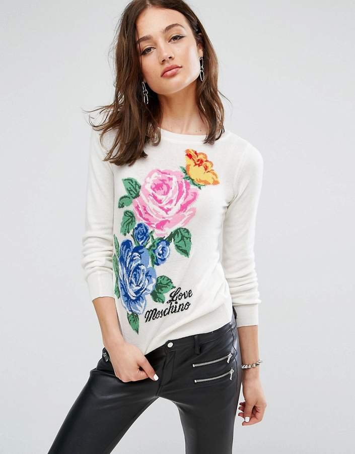 Love Moschino Floral Knit Cashmere Wool Mix Sweater
