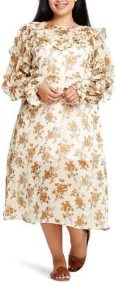 ELVI Ada Ditsy Print Tea Length Dress