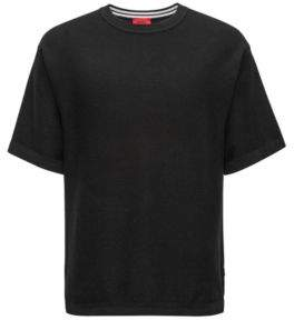 HUGO Boss Oversized-fit short-sleeved sweater in textured cotton M Black