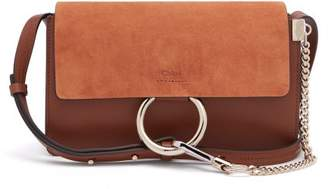 Chloé Faye Small Leather And Suede Cross Body Bag - Womens - Tan
